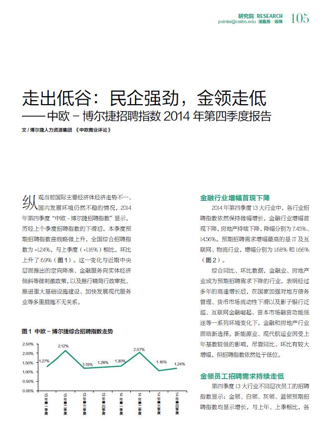 中欧-博尔捷招聘指数第十八期报告